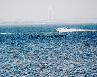 Boat with Verrazano-Narrows Bridge