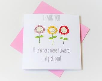 teacher|thank you card|funny|handmade|card for her|flowers|blank greetings card