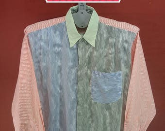 Vintage Varorav Shirt Long Sleeve Striped Multi Colour Designer Comme des Garcons Shirts Yohji Yamamoto Shirts Issey Miyake