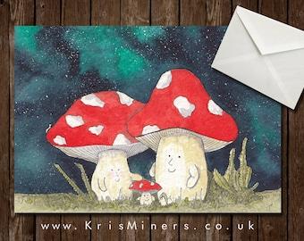 Night Sky Mushroom Family Greetings Card - Blank - The Shroom Family