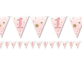 Age 1 Bunting, Birthday Bunting, Pink Bunting, 1st Birthday, Party Bunting, 1st Birthday Decor, Paper bunting, birthday garland