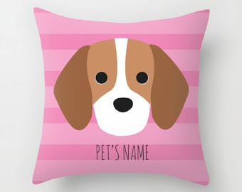Beagle Pillow, Beagle Cushion, Decorative Beagle Cushion - Dog Pillow, Dog Gift, Custom Dog Name Pillow