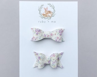 Petite Floral Bow, Spring Bow, Classic or Chunky Bow