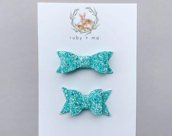 Aqua Glitter Bow, Teal Glitter, Classic Bow, Chunky Bow