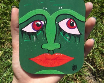 """Title: """"Wasabi"""" original handpainted cosdted styled design"""