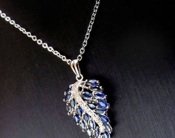 100% natural Sapphire Pendant Necklace SOLID 925 STERLING silver