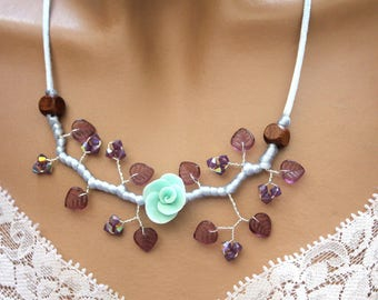 Purple branches and Blue Flower necklace