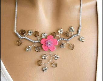 Pink and grey ceramic Flower necklace