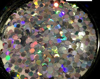 3mm Silver Holographic Nail Art Chunky Glitter Mix for makeup - nails - hair - body - festivals and more