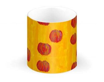 China Mug- Orange Anemone on Ochre