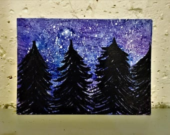 Night Sky With Trees Painting