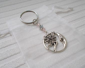 fairy keychain silver keyring small gift for her fairy bag charm silver accessories moon keyring fairy accessory fairy gift silver charm