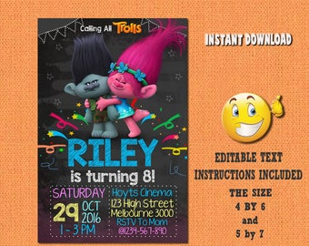 Trolls invitation, Trolls , Trolls birthday, Trolls invites , PDF editable invitation, Trolls party, invitation Trolls