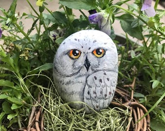 Hand-Painted Snowy Owl Rock - Painted Snowy Owl - Owl Painting