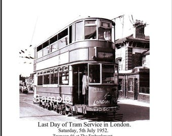 "London - Last Tram Service - 5th July 1952 - The Embankment. Photo 10""x 8"" FREE UK shipping"