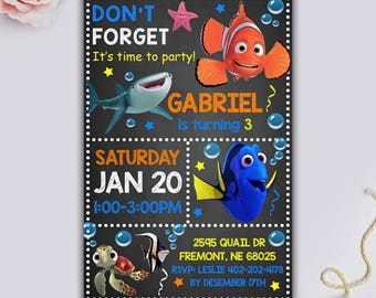 Finding Dory Invitation, Finding Dory Birthday Invitation, Finding Dory Party, Finding Dory Birthday, Finding Dory Printable, Free Thank You