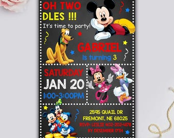 Mickey Mouse Birthday, Mickey Mouse Invitation, Mickey Mouse Birthday Invitation, Mickey Mouse Card, Mickey Mouse Printable, Mickey Party