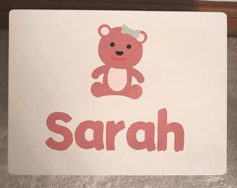 Personalised childrens toy box with teddy bear