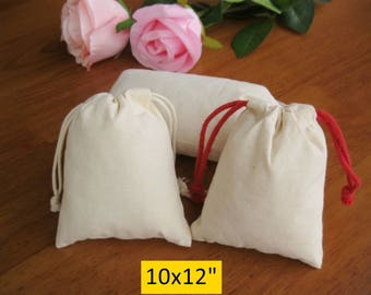 30 10x12 Large Drawstring Cotton Bags Wedding Gift Bags Fabric Bags Custom Jewelry Pouches
