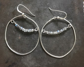 Organic shape labradorite hoop EARRINGS sterling silver