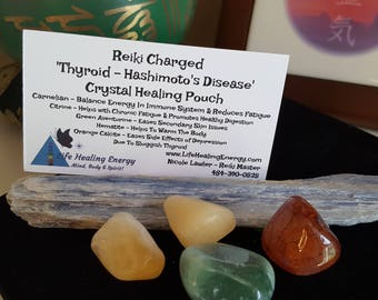 Reiki Charged 'Thyroid - Hashimoto's Disease' Crystal Healing Pouch