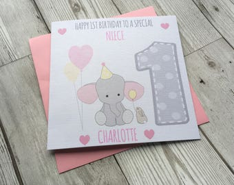 Personalised Cute Elephant 1st first Birthday Greeting Card ~ Daughter ~ Granddaughter ~ Niece ~ Cousin ~ Goddaughter ~ little sister