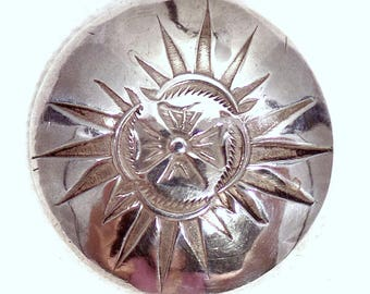 American Indian (Navajo?) Silver Button With Sun Motif