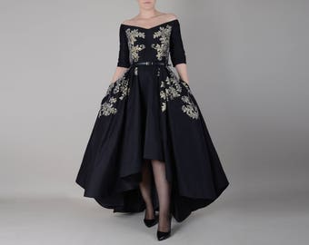 Evening dress made of silk taffeta  ; Hand painted gown ; high - low dress with off shoulder neckline and sleeves