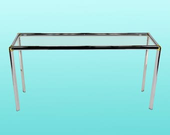 Vintage Chrome Console With Brass Plated Accents