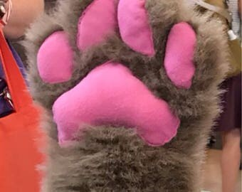 One color Fursuit paws  ( black vinyl pawpads)