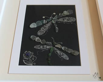 Sea Glass, Dragonflies, Dragonfly, box frame