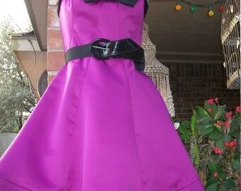 1950's Betsy Johnson Bright Purple/Fucshia Halter Satin Pin Up Dress-Small/Med.