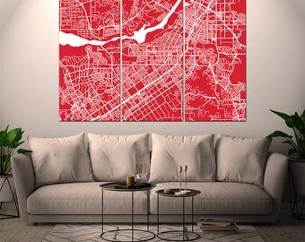Riverside California / City Map / Canvas Print / Wall Art / Large 3, 5 or 6 panel