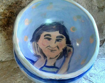 Handmade ceramic bowl, painted and illustred