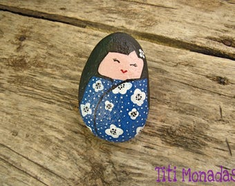 Stone painted Kokeshi