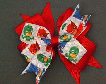 Double Stack Red PJ Masks Hair Bow