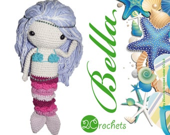 Crochet Mermaid Pattern -Bella The Mermaid - Crochet Pattern / Amigurumi