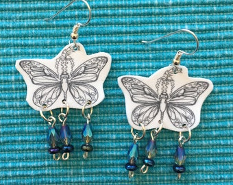 Illustrated Shrinky Dink Earrings - Butterfly