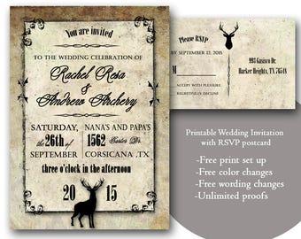 Camo wedding invite Etsy