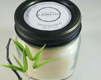 Fresh Bamboo, 6 oz Mason Jar Candle, Country Chic, French Country Design, Country Decor, Hand-poured candle, Soy Vegan Candle