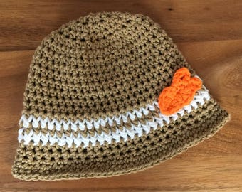 Baby boy fedora hat-Tan baby sunhat-Boy tan fedora hat-boy beach fedora-Boy goldfish hat-Crochet baby boy hat-Tan boy goldfish fedora