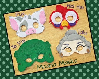 Moana-Pua-Hei Hei-Tala-Te Fiti Inspired Felt Mask-Child's Dress Up Imaginary Play- Birthday Party Favor-Photo Shoot-Pretend Play-Theme Party