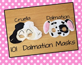 Dalmation Mask-Cruella Inspired Mask-Child's Dress Up Imaginary Play-Halloween Costume-Photo Prop-Birthday Party Favor-101 Dalmations
