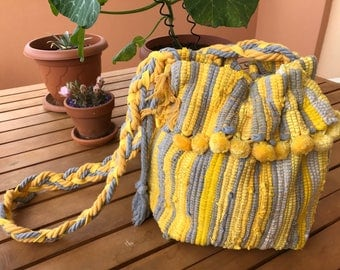 Evie's Yellow Kourelou/ Loom Woven Bucket Bag