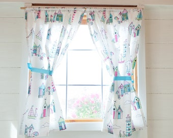 Beach hut playhouse curtains
