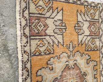 Doormat Rug, Bathroom Rug, Floor rug,vintage rug,vintage Oushak rug,Small rug, rug,Turkish rug,Rugs,carpet,Home interior rug 1.7x2.7 /50x80