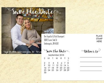 SAVE THE DATE Self-Mailing Photo with Calendar
