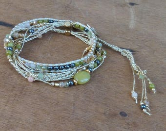 Bracelet - Japanese beads and bead stone - boho - hippie - gypsy - gypset - Bohemian - ethnic - Ibiza - gypsy style.