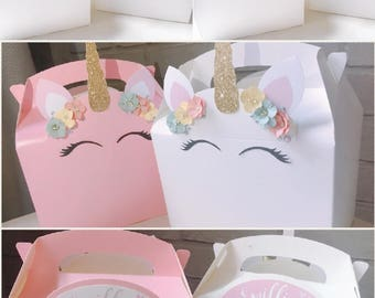 Unicorn girl's birthday party, wedding favour boxes