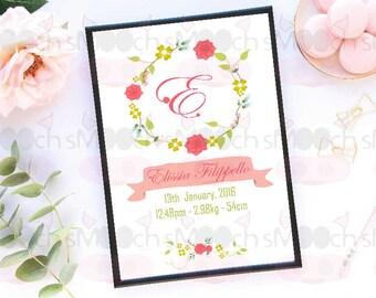 Floral Wreath Birth Print